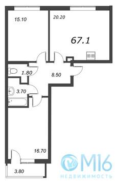Продажа 2-комнатной квартиры, 67.1 м2 - Фото 2