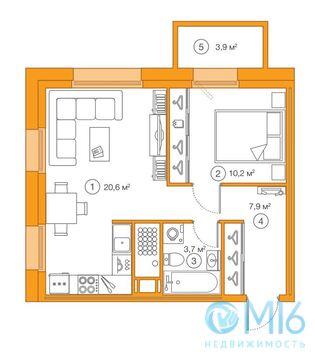 Продажа 1-комнатной квартиры, 42.38 м2 - Фото 1