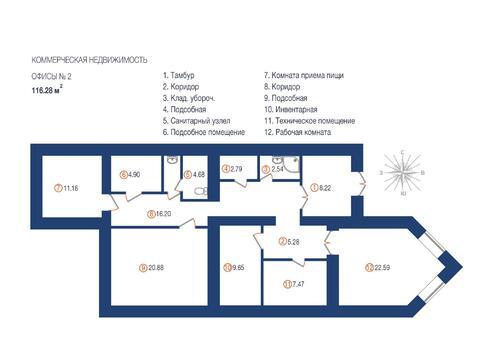 Офисное помещение 116 кв.м. на 1 этаже в центре ул. Гафури - Фото 3