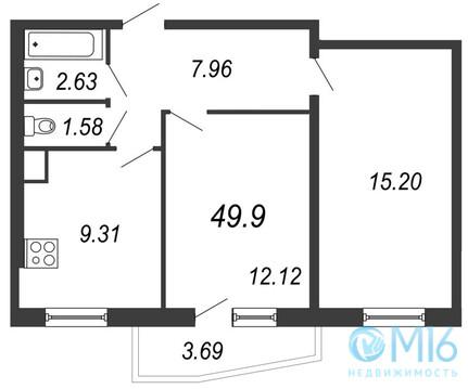 Продажа 2-комнатной квартиры в Московском районе, 49.9 м2 - Фото 1