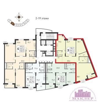 Продается 3к-квартира, ЖК Триумфальный, Москва, Славянский бул - Фото 2