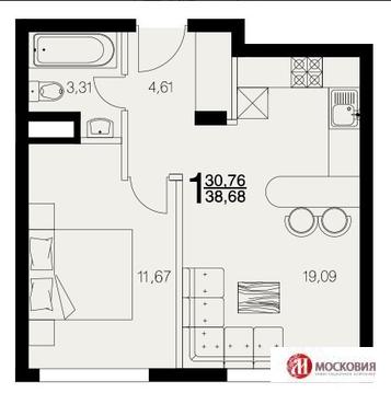 1 комнатная квартира 38.68 кв.м, с ремонтом под ключ, 25 км от МКАД - Фото 2