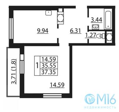 Продажа 1-комнатной квартиры, 37.35 м2 - Фото 1