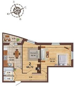 2комн в Новом доме. Перспективный жилой комплекс - Фото 1