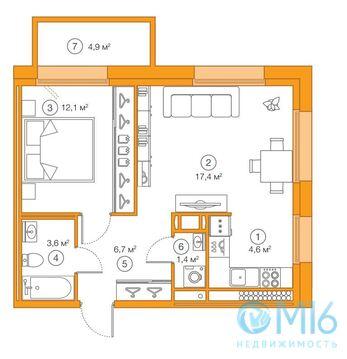Продажа 1-комнатной квартиры, 45.83 м2 - Фото 2