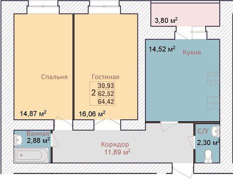 Продается 2 комнатная квартира общей площадью 64,5 кв.м, комнаты . - Фото 2