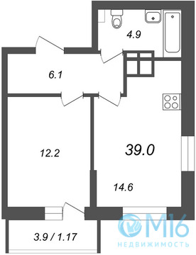 Продажа 1-комнатной квартиры, 39 м2 - Фото 1