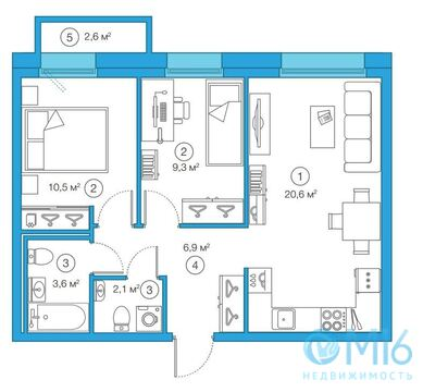 Продажа 2-комнатной квартиры, 53.04 м2 - Фото 3