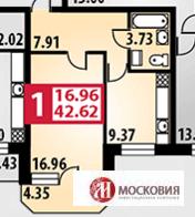 1 комнатная квартира 42.62 кв.м, г. Подольск, 15 минут пешком до ж/д