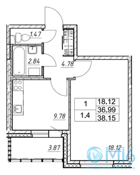 Продажа 1-комнатной квартиры, 38.15 м2 - Фото 3