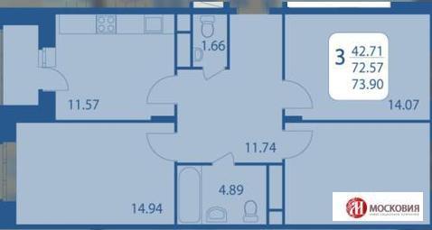 3 к.кв. 74м2, дом монолитно-кирпичный, Подольск, 15 км от МКАД. - Фото 2