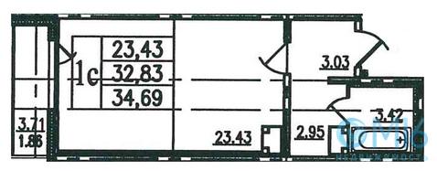 Продажа 1-комнатной квартиры в Калинском районе, 35.2 м2 - Фото 2