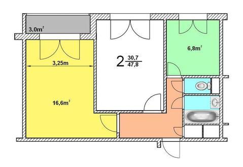 2-комнатная квартира, метро Царицыно, Липецкая ул, дом 12, корп. 1 - Фото 2