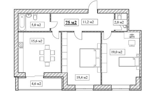 Продам 2-комнатную квартиру, 75м2, ЖК Прованс, фрунзенский р-н - Фото 5