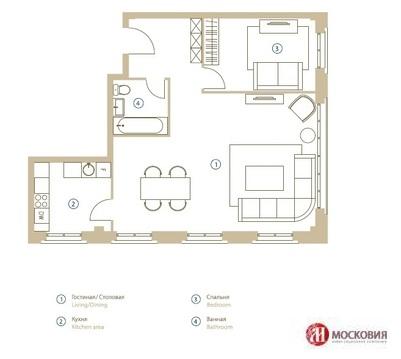 2-комнатная квартира 77 кв.м Центр Москвы Замоскворечье Садовое кольцо - Фото 5
