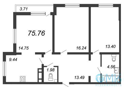 Продажа 3-комнатной квартиры, 75.76 м2 - Фото 1