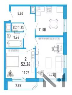2-х к. квартира 52 м2 в ЖК Витамин в Мурино за 2.544.000 - Фото 1