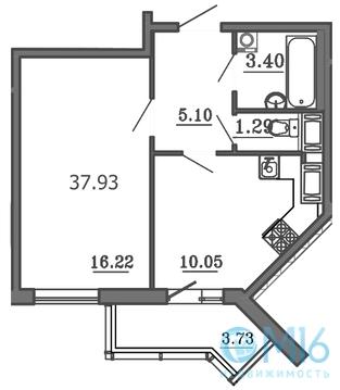 Продажа 1-комнатной квартиры в Калининском районе, 37.93 м2 - Фото 2
