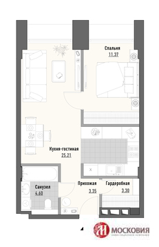 1 комнатная квартира 44 м. Москва, СВАО м. Алексеевская 7 мин. пешком - Фото 3