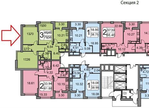 Квартира 81 кв.м. 3-комн. в ЖК Белые Росы 5 минут пешком до м. . - Фото 3