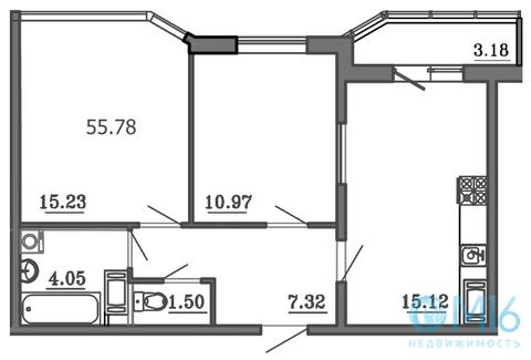 Продажа 2-комнатной квартиры в Калининском районе, 55.78 м2 - Фото 2