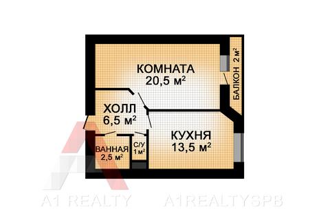Пп однокомнатная квартира 46 кв.м. в кирпичном доме 5мин метро купчино - Фото 2