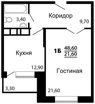 1 комнатная квартира 48.6м2 , г.Клин, Майданово. Новый дом. - Фото 3