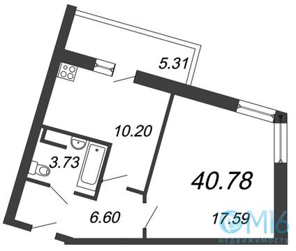 Продажа 1-комнатной квартиры, 40.78 м2 - Фото 1