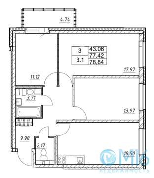 Продажа 3-комнатной квартиры, 78.84 м2 - Фото 2