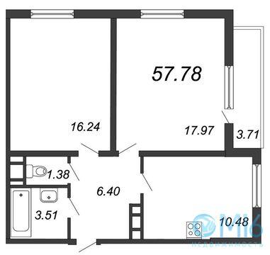 Продажа 2-комнатной квартиры, 57.78 м2 - Фото 2