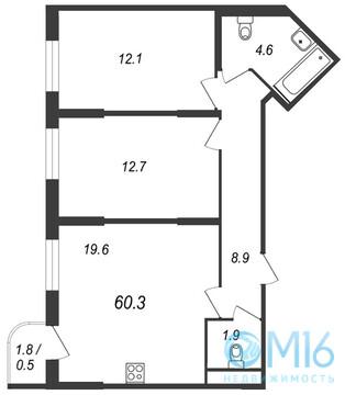 Продажа 2-комнатной квартиры 60.3 м2 в Буграх - Фото 1