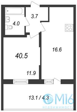 Продажа 1-комнатной квартиры, 40.5 м2 - Фото 2
