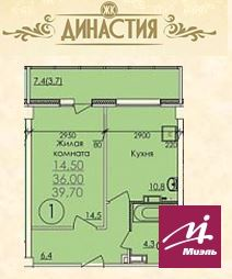 Продажа 1комн.кв. в ЖК Династия 39,7 кв.м. - Фото 1