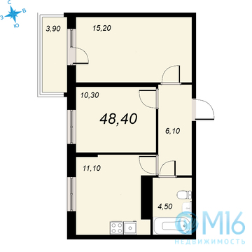 Продажа 2-комнатной квартиры, 48.4 м2 - Фото 2