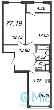 Продажа 2-комнатной квартиры, 77.19 м2 - Фото 2