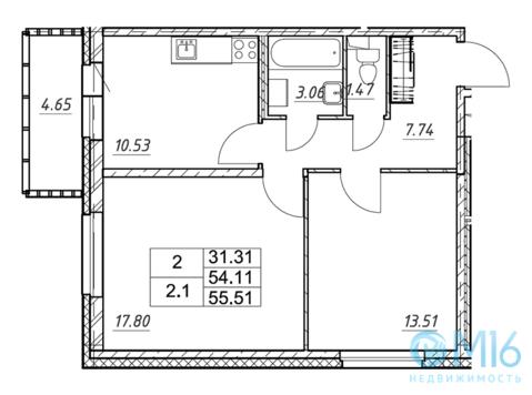 Продажа 2-комнатной квартиры в Кировском районе, 55.51 м2 - Фото 2