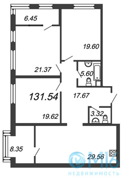 Продажа 3-комнатной квартиры, 131.54 м2 - Фото 2