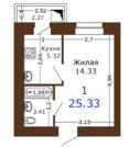 1 комнатная квартира на Семчинской ЖК Юный 5 очередь