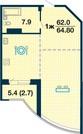 """1-к.квартира (64,8м2), 10/23 этаж, пл.Речников, ЖК """"Альбатрос"""". - Фото 4"""