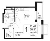 1к квартира 38.91кв.м с ремонтом,7 км до м.Бунинская аллея - Фото 1