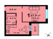 1 комнатная квартира, ул. Федюнинского, ЖК Ожогино - Фото 4
