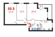 3-комн. кв. 88,8 м2, этаж 7/15 , ЖК Благовест - Фото 1