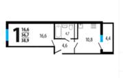 3 831 000 Руб., Однокомнатная квартира 39 кв.м в Новых Ватутинках, Купить квартиру в новостройке от застройщика в Москве, ID объекта - 321684159 - Фото 1