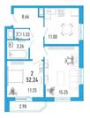 2-х к. квартира 52 м2 в ЖК Витамин в Мурино за 2.544.000