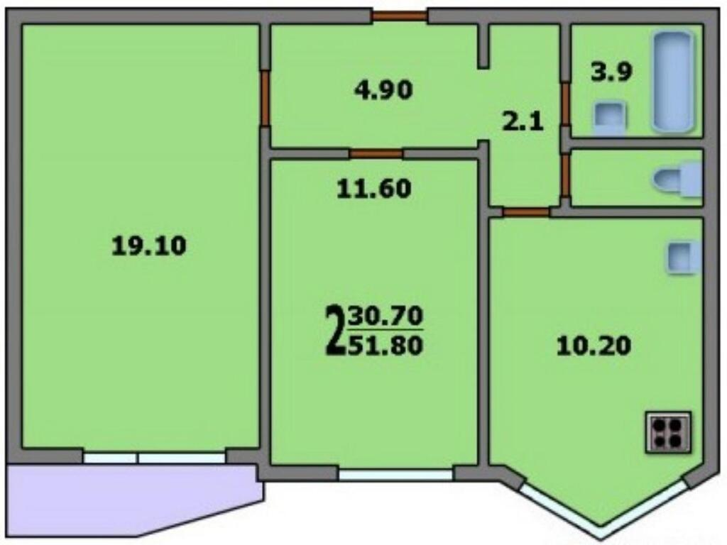 Продам 2-комнатную - ул кашёнкин луг, 8к3, 51 кв.м. на 6 эта.