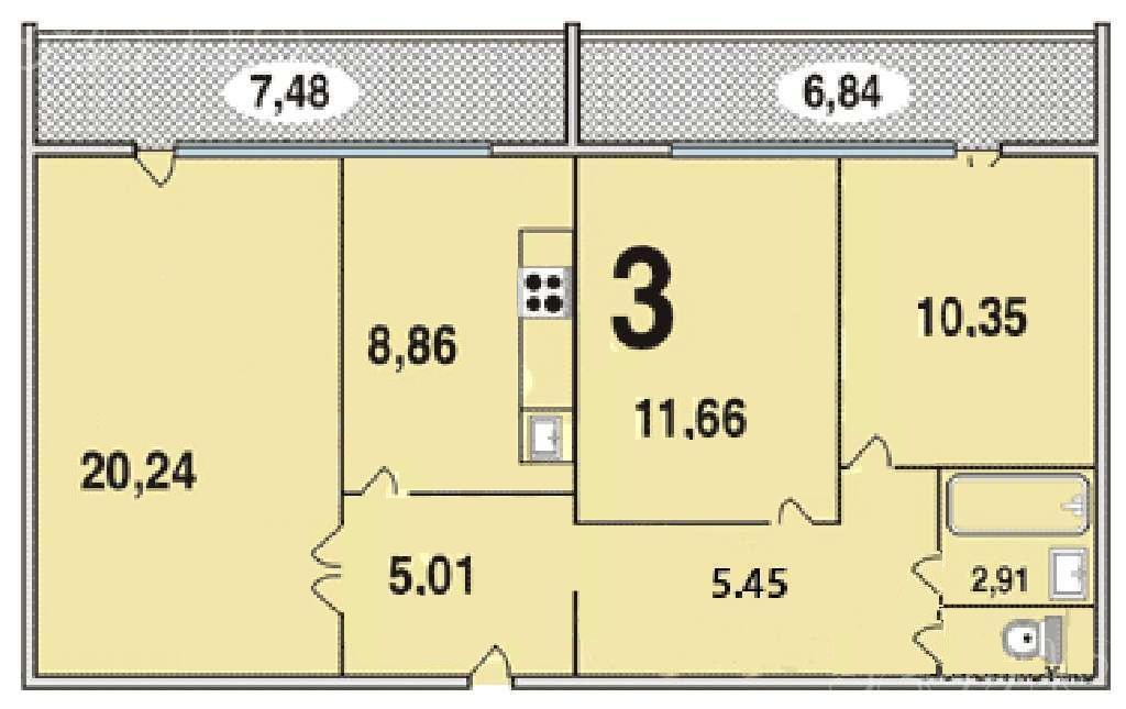 Продам 3-х комнатную квартиру, купить квартиру в москве по н.