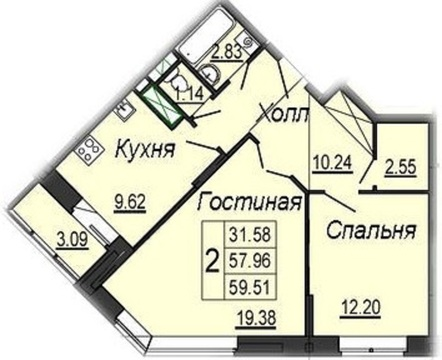 2-х комнатная квартира 59,5 кв.м. в новостройке ул. Кирова 17