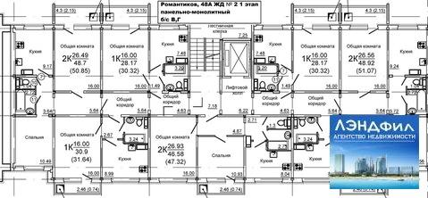 1 комнатная квартира в новом доме, Романтиков, 48а - Фото 2