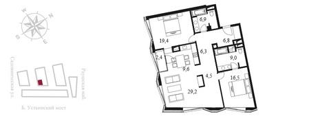 Квартал Клубных Особняков Balchug Residence. Элитные апартаменты 117,4 . - Фото 3