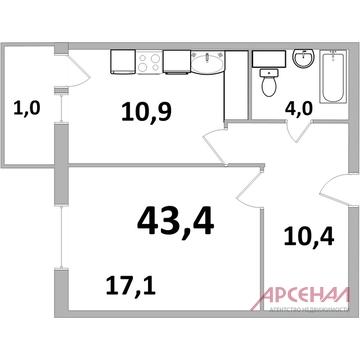 """1- комн. кв-ра ЖК """"Центр+"""" г. Железнодорожный - Фото 3"""